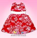 Đầm bông trắng đỏ cột dây