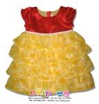 Đầm phi đỏ tay phồng tùng bốn tầng voan vàng